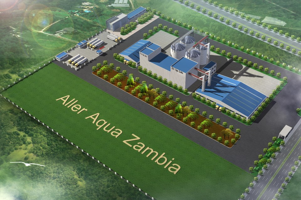 Vizualisation of Aller Aqua's new factory in Zambia